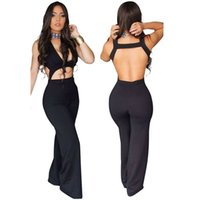 Wholesale Club Outfit For Women - Wholesale- 2 Piece Outfits For Women Bodysuit Jumpsuit Body Women Sexy Long Pant Sleeveless Backless Romper Bodycon V neck Club Koker Rok
