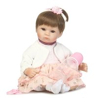 Wholesale touch dolls toys - Wholesale- 40cm Soft Reborn Baby Doll Cotton Body Silicone Vinyl Real Gentle Touch Cute Hair Style Toys for Children Birthday Gifts