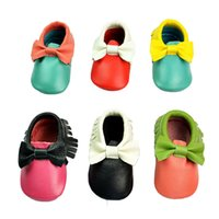 Wholesale Infant Animal Print Shoes - Baby Moccasins Bowknot Multi Color Genuine Leather Prewalker Shoes First Walking Shoes Soft Sole Anti-slip Infant Shoes