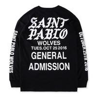Wholesale Gothic Black Long Sleeve - 2017 HipHop new Best version Justin Bieber Fear of God Fog long sleeve tee shirt SAINT PABLO gothic font printed black white