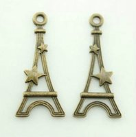 Wholesale Lovely Eiffel - 100pcs 13x28mm Flat Eiffel Tower Charm pendant Antique bronze Lovely charms For diy necklace Jewelry Making findings