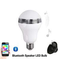 светодиодная лампа лампы светлый цвет меняется оптовых-Динамик Bluetooth E27 LED RGB Light Music Лампа Лампа Изменение цвета с помощью Wi-Fi App Control mp3-плеер беспроводной динамик Bluetooth