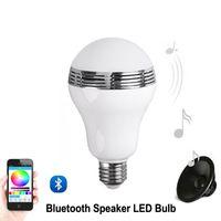haut-parleur bluetooth mp3 3w achat en gros de-Haut-parleur bluetooth E27 LED RGB Lumière Musique Ampoule Lampe Changement de couleur via WiFi Application Contrôle lecteur mp3 haut-parleur sans fil Bluetooth