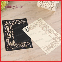 Wholesale Pearl Wedding Invitation Cards - 2017Diy Laser Cut Deer Design Christmas Greeting Card Pearl Paper Wedding Invitation Cards Creative Fancy Menu Cards ,20Pcs