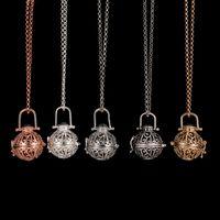 aromatherapie großhandel-Diffusor Medaillon Halskette Aromatherapie Diffusor Halsketten Ätherische Öle Diffusor Halskette Mode Neue Medaillon Anhänger Halskette 5 Farben