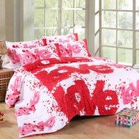 Wholesale Floral Quilt Red Orange - 3D Rose & Love Bedding Set 4PC Duvet Cover Set Quilt Cover Flat Sheet Pillowcase Wedding Valentine Full Queen King Size