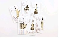Wholesale Golden Books Wholesale - Cute Kawaii Golden Metal Music Bookmarks Piano Guitar Trumpet Designs Book marks Korean Stationery Gifts Free shipping