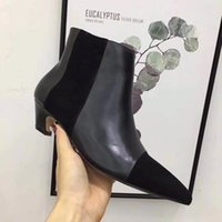 Kitten Heels Pointe Toe Bottes en cuir pour femmes Fashion Hot Designer Fall Winter T Show Wedding Party Booties