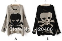 Wholesale Skull Long Knit Sweater - Wholesale-New Fashion Womens Ladies Punk Asymmetric Skull Batwing Knit Pullover Jumper Loose Sweater Knitw Free Shipping
