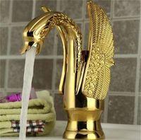 banyo musluğu antik pirinç kaplama toptan satış-Toptan-Banyo Swan Kaz Musluk Altın Finish Tek Dokunun şelale Lavabo Bataryaları Kolları Vintage Antik Pirinç