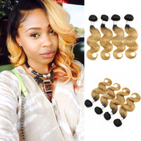 Wholesale cambodian colored hair - Colored Brazilian Hair Bundles Body Wave T B Blonde Ombre Hair Short Bob Style Peruvian Indian Cambodian Virgin Human Hair Weaves