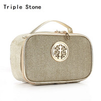 Wholesale Top Beauty Cases - Wholesale- Sequin Glitter Bling Ladies Cosmetics Trunk Box With Leather Top-handle Portable Large Women Make Up Makeup Beauty Case Pouch