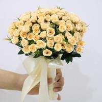 buket yastıkları toptan satış-Moda Champange Gül Çiçek Gelin Buketi Düğün Buket buket de noiva düğün çiçekleri gelin buketleri düğün aksesuarları flores