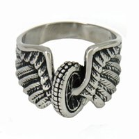 Wholesale Vintage Wing Ring - STAINLESS STEEL punk vintage mens or womens JEWELRY WING WHEEL TIRE BIKER RING GIFT FOR BROTHERS SISTERS