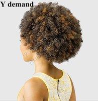 afro curl saç uzantıları toptan satış-Serin Saç Aksesuarları Uzantıları Kısa yüksek Spor Kıvrılmış Pençe Afro Kinky At Kuyruğu İpli Sentetik At Kuyruğu Y talep