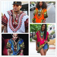 Wholesale Shirt Tribal - African Dashiki Dresses For Women Men Clothes Hippie Shirt Caftan Vintage Unisex Tribal Mexican Top Bazin Riche Ethnic Clothing M055