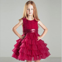 ingrosso abiti rossi della bambina rossa-2017 Little Red Girls Dresses Crew Lace Bambini Abiti da sposa per adolescenti Formale The Princess Dress