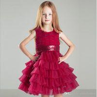vestidos formais de menina vermelha venda por atacado-2017 Little Red Vestidos de Meninas Tripulação Rendas Crianças Vestidos de Casamento Para Adolescentes Formais O Vestido de Princesa