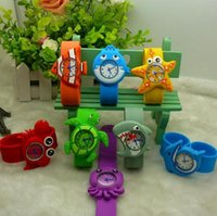 Wholesale Animal Snap Slap Wrist Watches - Hot Models Ocean Animal Series Slap Watch Cute Animal Cartoon Slap Snap Watch Silicone mixed design Wrist Watch for Children Gift