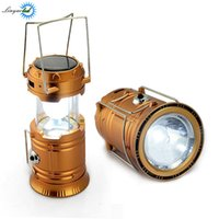 Wholesale Emergency Cell Power - Camping Lantern LED Solar Rechargeable Camp Torch Light Flashlights Emergency Lamp Power Bank for Android Cell Phone