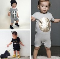 Wholesale Toddler Tight Shorts - INS Baby romper suit Cotton short sleeve letter Printing rompers boys girls costumes Toddlers bodysuits tights sets