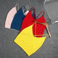 Wholesale Knitted Vest Girl - 5 color INS styles new arrival Girl Pure cotton knitted sling vest kids spring autumn girl casual cute solid color all-match sling vest
