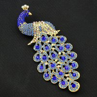 Wholesale Ladies Clothing Crystal - The new high quality large size sapphire crystal peacock Brooch Pin jewelry accessories sales ladies clothes gift