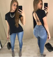 Wholesale Stylish Tshirts - 2017 summer Women's T-shirt fashion Stylish Black back Fishtail slit Tops club bandage tee tshirts Round neck loose short-sleeved