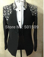 Wholesale men suits photos for sale - Group buy real photos handsewing bead luxury black red blue pink full rhinestone glitter mens tuxedo suit stage performance only jacket