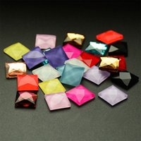 Wholesale Silver Square Cabochon Setting - 8mm Glass Square Cabochon Cute Candy Color Flat Back Rhinestone Glue On Stone For Bing Diy Craft 100pcs set
