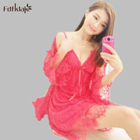Wholesale Hot Nightwear For Women - Wholesale- Fdfklak 2017 Hot Sale New Design Summer Two Pieces Robe+Nightgown Fashion Nightwear For Women Temptation Black White Pink E0815