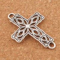 Wholesale Connector Crosses - Open Flower Cross 2-Hole Connector 80pcs lot Tibetan Silver Fit Infinity Leather Bracelets Jewelry DIY L1209 27.5x42mm
