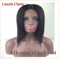 Wholesale Yaki Lace Front Brazilian 1b - short bob #1b color full lace wigs heat resist straight glueless brazilian yaki straight lace front wig and middle part with combs&straps