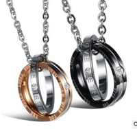 Wholesale Titanium Rings Singapore - Circle pendant With diamond titanium steel couple necklace couple ring two colors can choose shipping free
