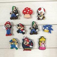 Wholesale Bros Charm - 10pcs lot Super Mario Bros Cartoon PVC Shoe Charms Accessories Fit Wristband Bracelets Kid Gift Party Favor Shoe Accessories