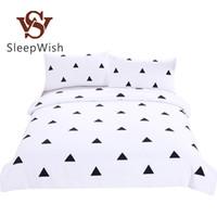 ingrosso biancheria bianca nera geometrica-Wholesale- BeddingOutlet Bedding Geometric Duvet Cover Set in bianco e nero Tessili per la casa semplice stampato