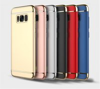 Wholesale Galaxy Goophone - For Samsung Galaxy s8 s6 s7 Edge Cell Phone Case 3 in 1 Electroplate PC Hard Ultra thin Slim Back Goophone Case For iPhone 6 6s 7 8 X Plus