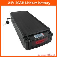 Wholesale used tail lights - 24V 700W Electric Bike Lithium Battery 24V 40AH Rear rack Use samsung 3000mah cells With Tail Light 30A BMS 29.4V 3A charger