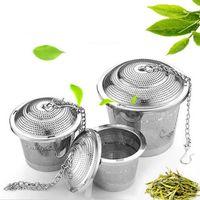Wholesale herbal ball - Durable 3 Sizes Silver Reusable 304 Stainless Mesh Herbal Ball Tea Strainer Teakettle Locking Tea Filter Infuser LZ187
