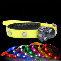 Wholesale Steel Collars Leashes - Adjustable TPU Pet Leashes Gem LED Light Up Dog Collar Stainless steel D Ring Puppy Necklet Durable 19 5gr B