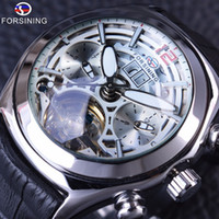 Wholesale Mens Watches Automatic Genuine - Forsining 2017 Calendar Legend Tourbillion Design Genuine Leather Strap Mens Watches Top Brand Luxury Automatic Skeleton Clock