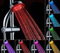 luces de batería de baño al por mayor-Material ABS Cambio automático de color Baño iluminado LED Cabezal de ducha Resplandor Sin batería Cabezal de ducha Led Agua Lluvia Flujo Potencia