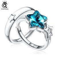 Wholesale Pure Stone Silver Ring - Pure Silver 925 Rings Sets with 1.5ct Star Crystal Sterling Silver Promised Jewelry for Lover SR23