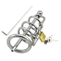 Wholesale Steel Chastity Belt Catheter - Stainless Steel Cock Cage Male Chastity Device Penis Plug Urethral Sound Penis Lock Belt Chastity Cage Sex Toys Sex Product G110