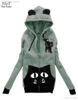 Wholesale Korean Hoodie Ears - Wholesale-New Fashion Korean Women's Girls Cute Zip Ear Hoodie Cat Long Hooded Sweatshirt Coat Outwear 5 Colors 22