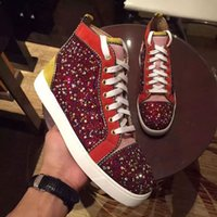 Wholesale Diamond Men Shoes - With Box Top Luxury Brand Bottom Red Sneaker Diamond Red Bottom Sneakers For Men Women Party Wedding Casual Shoes Loubs Red Sole