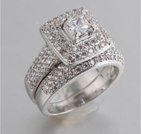 Wholesale Ring Double Silver - High Quality Double Fair Engagement Wedding Rings Cubic Zirconia Silver Plated CZ Stone Ring Jewelry Gift For Women anel Wholesale