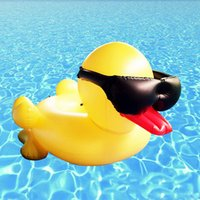 Wholesale Giant Party Ring - Inflatable Pool Toys PVC Floats Aeration Giant Yellow Cool Duck Wearing Sunglasses Ride On Water Floats Swimming Ring For Summer Party