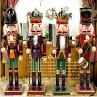 Wholesale wooden soldier nutcracker - 30cm Nutcracker Puppet Soldiers Home Decorations for Christmas Creative Ornaments and Feative and Parrty Christmas gift