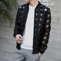 Wholesale Mandarin Slim Fit - Wholesale- Brand Clothing Jaqueta Masculina Slim Fit Plaid Sunscreen Clothing Fashion Transparent Pierced Jacket Men Big Size Windbreakers